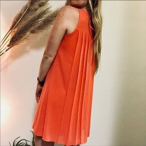 VINCE CAMUTO Coral Pleated Back Swing Tank Dress